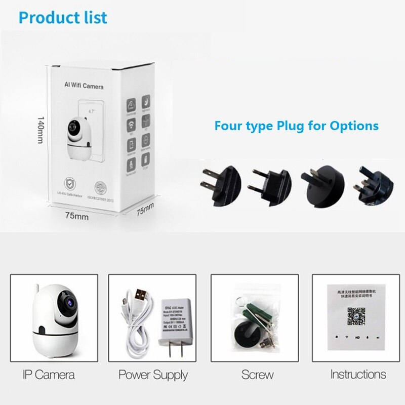Smart Home  Surveillance 1080P IP Camera Baby Monitor WiFi Auto Tracking  Night Vision Security Camera