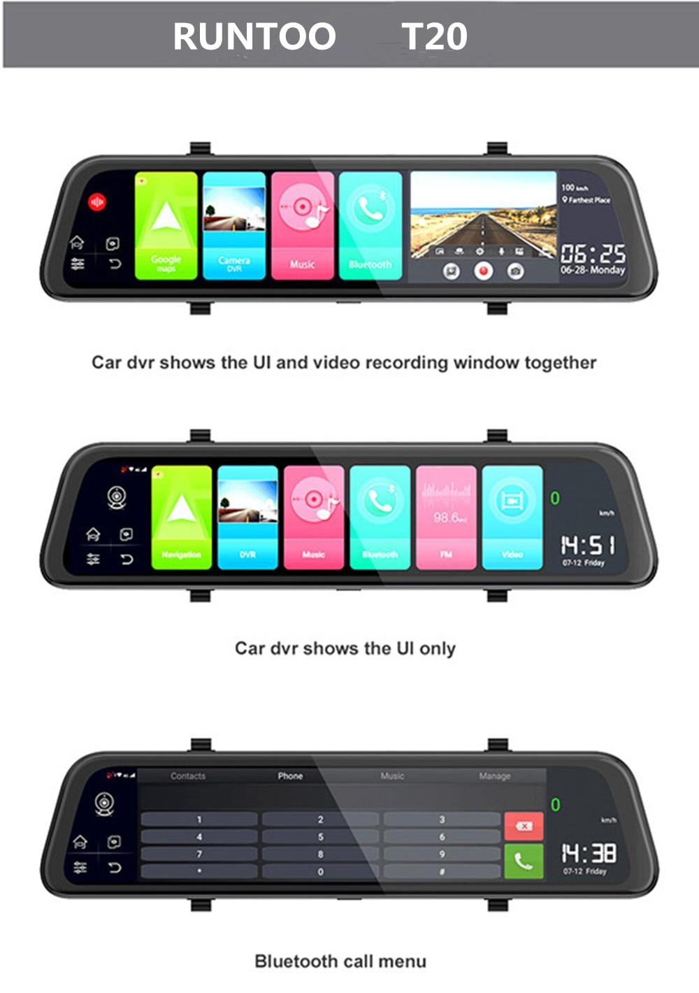 Car DVR Dash Camera 4G  Rearview Mirror WiFi Android HD 1080P Video Auto Recorder GPS Navigation Dash Camera Cars Cam Registrato
