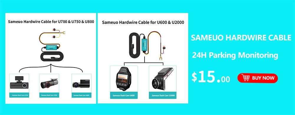 Sameuo U2000 WIFI dash cam 2k front and rear 1080p 2 camera Lens CAR dvr smart car dvrs Auto Night Vision 24H Parking Monitor