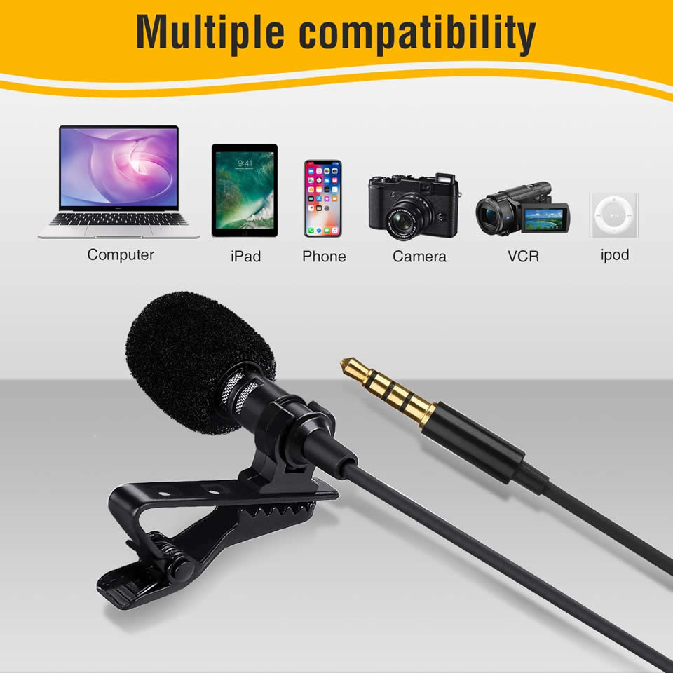 1.5m Omnidirectional Metal Microphone 3.5mm Jack Lavalier Tie Clip Microphones Mini Audio Mic for Camera Computer Laptop Phone