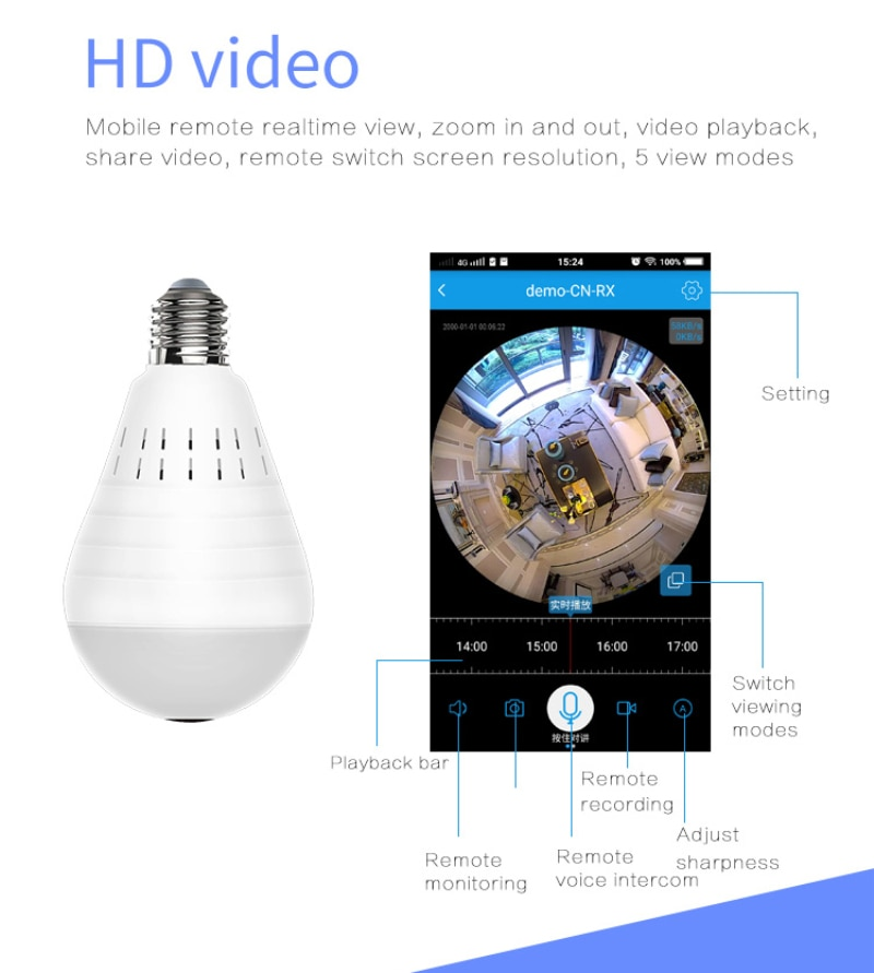 960P Wireless Panoramic Mini IP Camera 360 Degree Dome Cam LED Light Home Security WiFi CCTV Fisheye Bulb Lamp Two Ways Audio