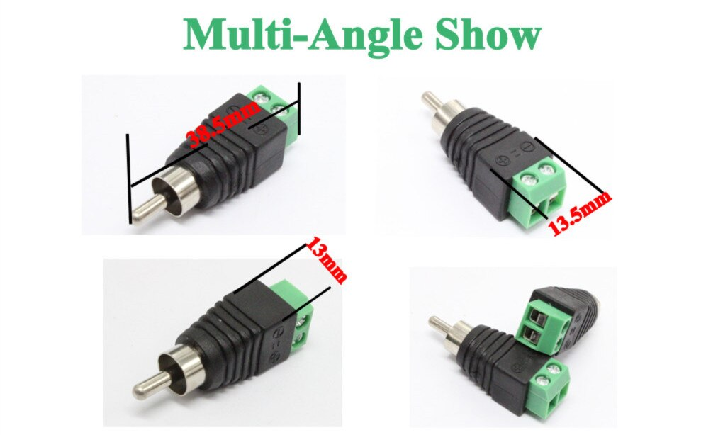 10pcs 2pcs BNC Connectors Male RCA plug JR-R55 with audio to terminal block for cctv camera AHD Camera CVI Camera TVI