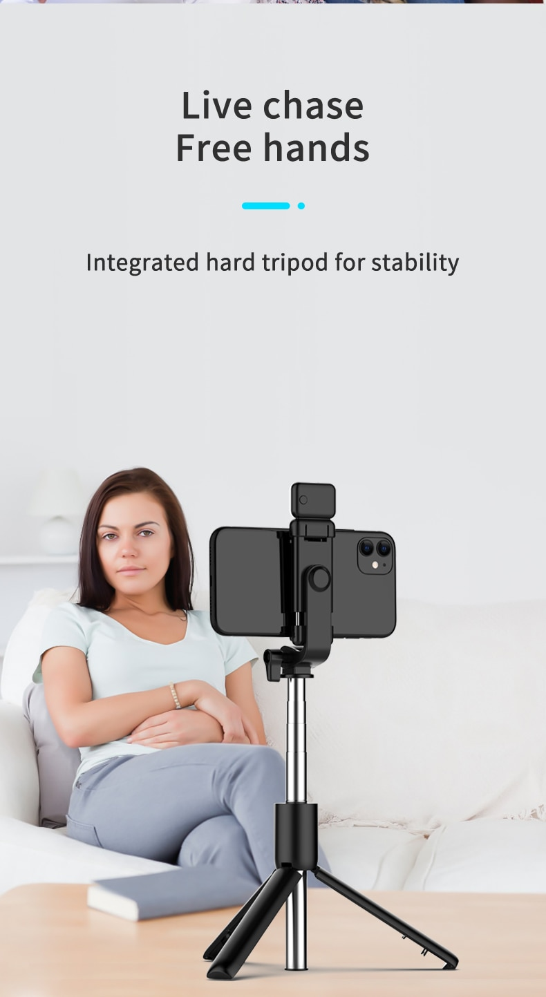Wireless Mobile phone tripod mobile tripod for i-phone Tripod for phone selfie stick bluetooth tripode stabilizer for mobile LED
