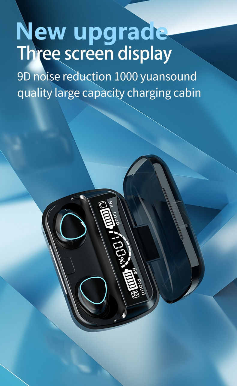TWS Bluetooth 5.1 Earphones Charging Box Wireless Headphone 9D Stereo Sports Waterproof Earbuds Headsets With Microphone